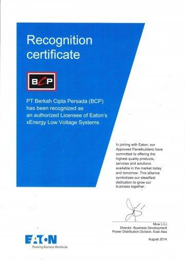 Lisence Eaton Certificate