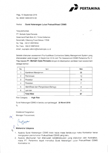 CSMS Certificate